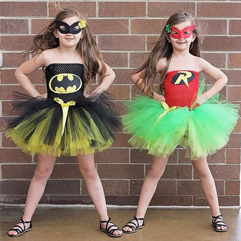 Baby Girl Super Hero Children Girl Halloween  Costume Summer Dress Batman costumes for Party Birthday
