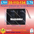 [L701] 3.7V 7500mAh [35113134] PLIB (polymer lithium ion / Li-ion battery ) for tablet pc,ON-DA V971 DUAL, V971T,V971S