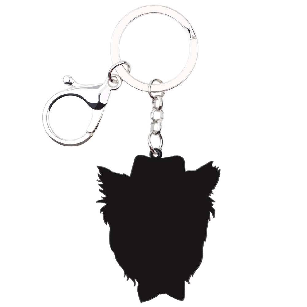 WEVENI Yorkie Yorshire Terrier Face Dog Key Chain Key Ring Handbag Charm Car Keychain Accessories New Fashion Jewelry For Women