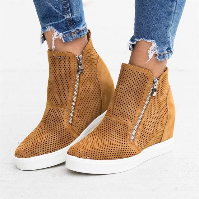 SHUJIN 2019 Leather Woman Shoes Casual Breathable Increasing Vulcanized Shoes Women Zipper Sneakers Leisure Platform Shoes 1