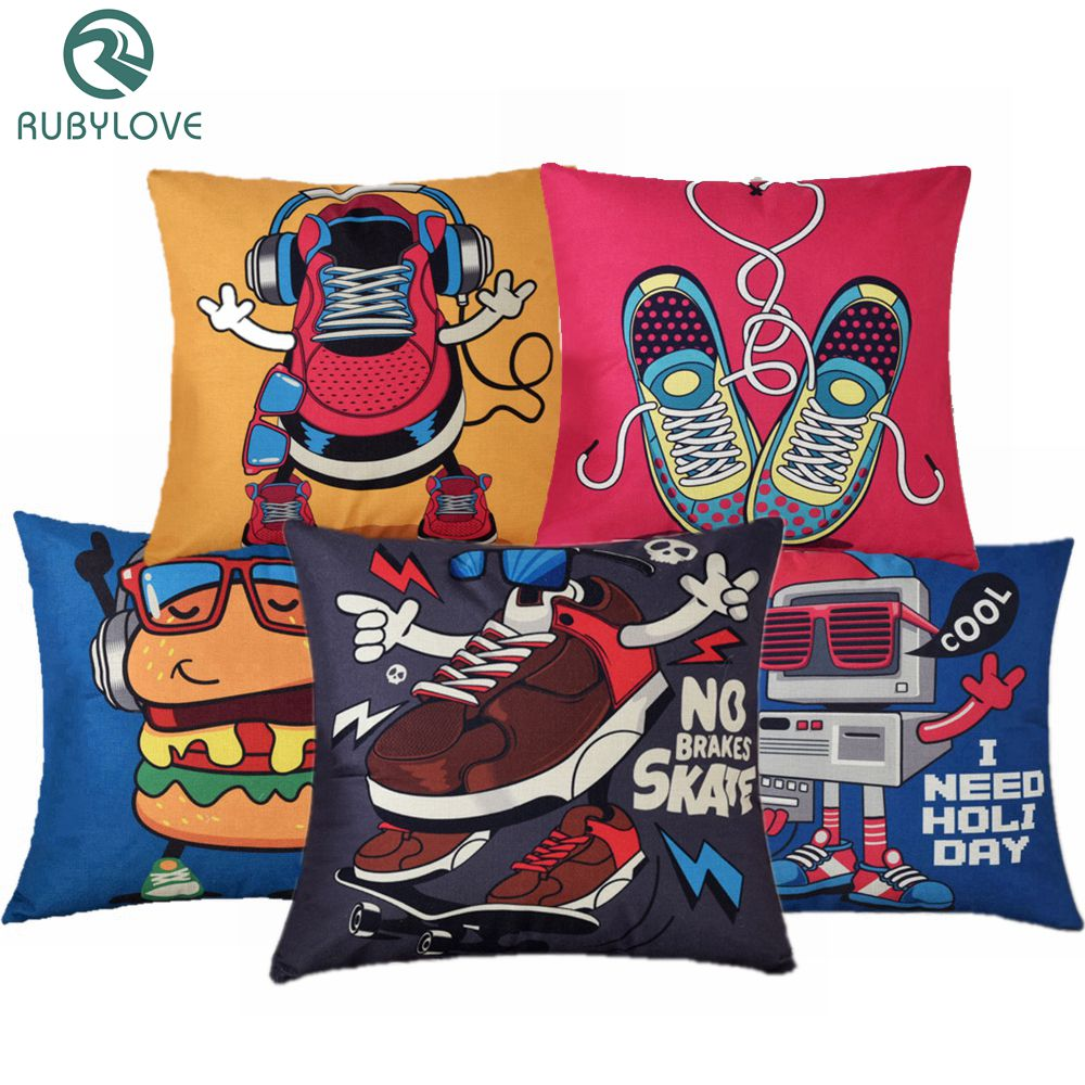 RUBYLOVE Cute Cartoon Sport Shoe Pillow Cover Modern Style Sofa Car Cushion Cover Throw Pillows Home Decor