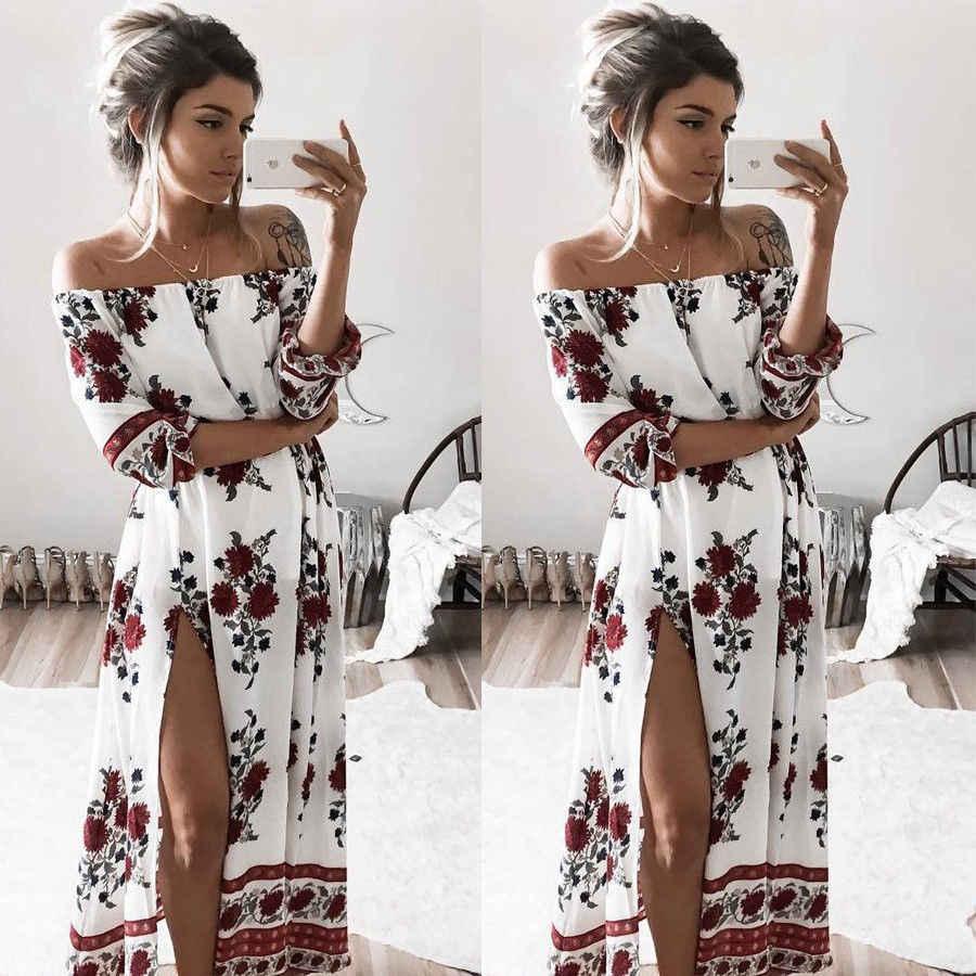 d3ad802735e0515 США со Для женщин s Maxi Boho с плеча платья Для женщин Цветочный принт Boho  Разделение