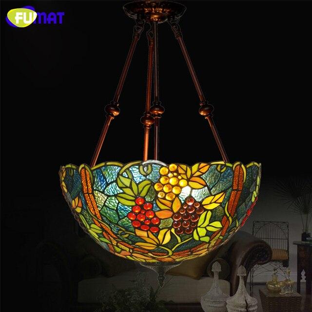 FUMAT Stained Glass Pendant Light 17 Inch 3 Editions Art Glass Grapes Lamp Dinner Room Living Room Restaurant Light Fixtures