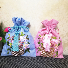 Hand Ribbon Embroidery Large Christmas Burlap Bags Gift Pouch Wedding Party Favor Drawstring Bunk Packaging 10pcs/lot