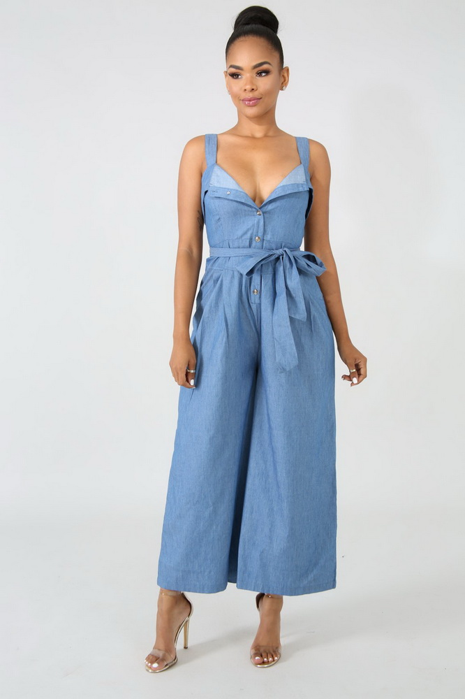 OKAYOASIS Free Shipping Casual Women Spaghatti Strap Sashes Wide Leg Play Suit Denim Jumpsuit