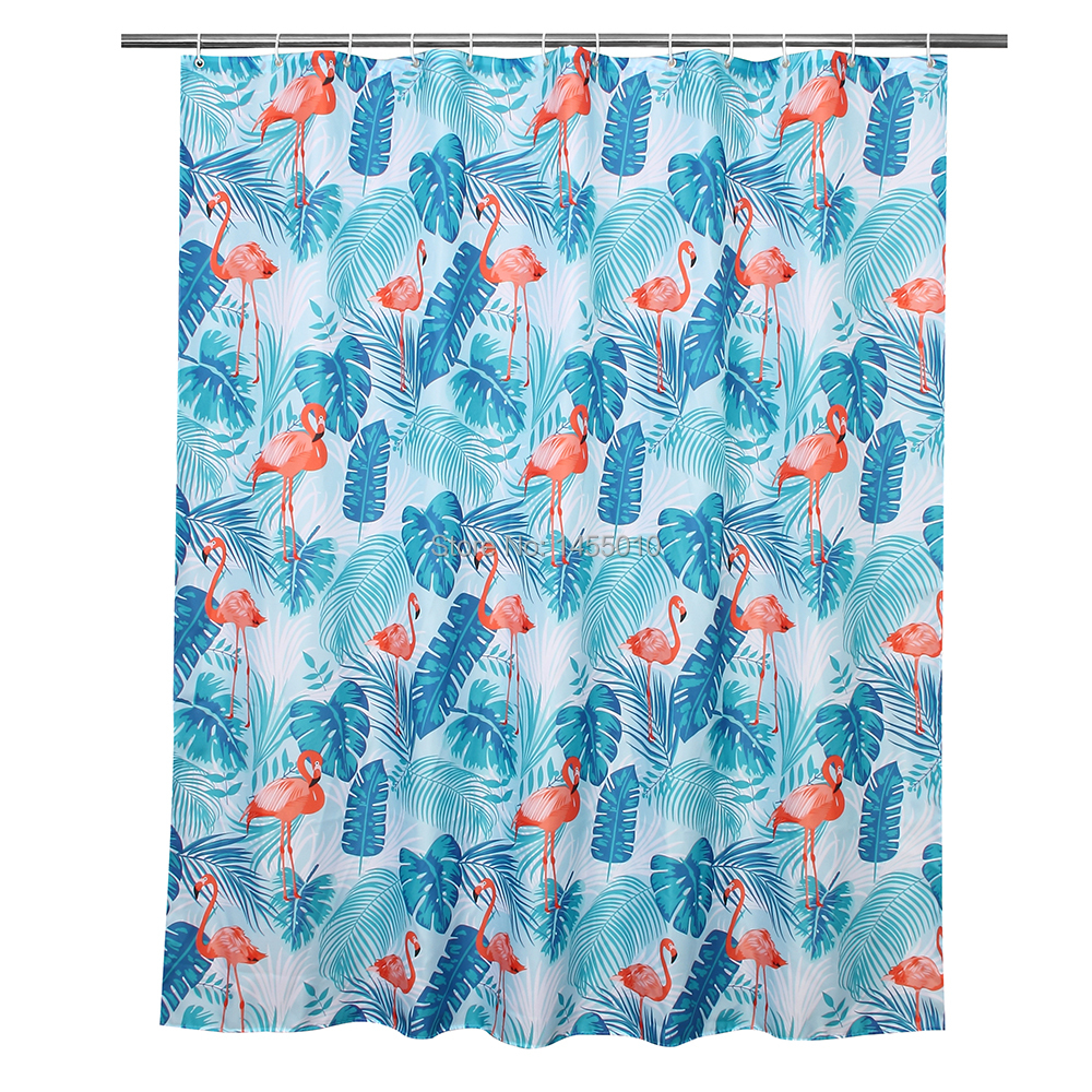 Fabric Polyester Red Flamingo Green Leaves Waterproof Shower ...