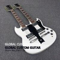 De alta Qualidade da China Fábrica Duplo Pescoço branco China Guitarra 6 Cordas & 12 Cordas SG Da Guitarra Elétrica Para Venda, frete grátis