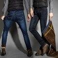Big Men Winter Regular Straight Thicken Stretch Denim Jeans Warm Fleece Jean Pants Trousers Plus Size 36 38 40 42