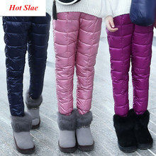 Pantalones de Plumífero de algodón para niños y niñas, mallas cálidas, impermeables, a prueba de viento, para nieve, para invierno