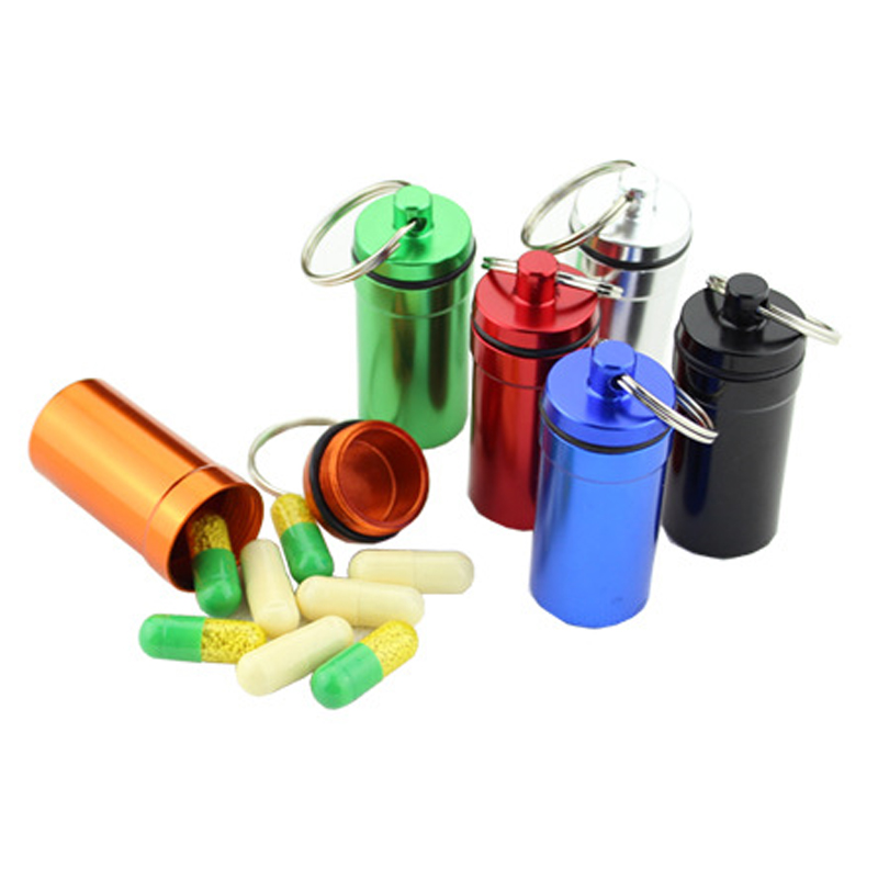 1PCS Aluminum Alloy Medicine Pill Container Box Bottle Case Key Chain Holder Portable Outdoor First Aid Kit