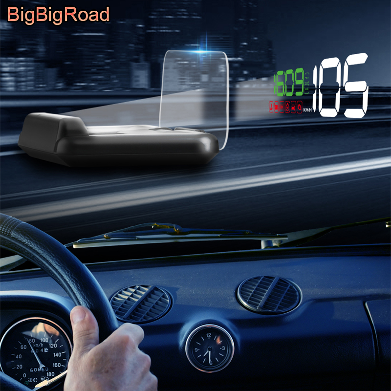 BigBigRoad Digital Car Auto Speed Windscreen Projector On-Board Computer HUD Head Up Display Fuel Warning OBD2 EUOBD Connector bigbigroad car hud obd 2 euobd windscreen projector speed head up display for kia niro mohave borrego k9 k900 kx3 k7 kx7 cadenza
