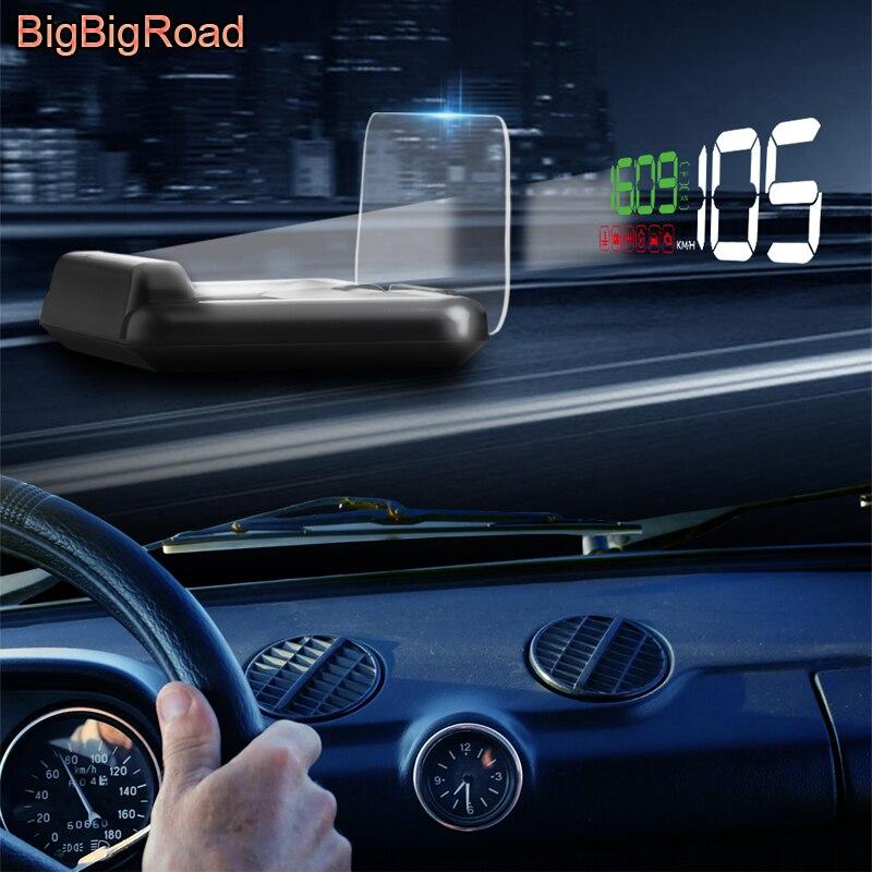 BigBigRoad Digital Velocidade Do Carro Auto Brisas Projetor On-Board Computer HUD Head Up Display Aviso de Combustível OBD2 EUOBD Conector