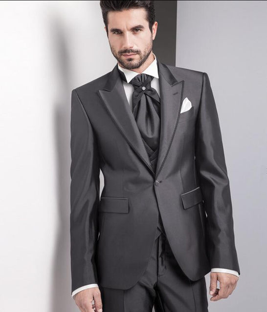 2017 Italian Charcoal Tuxedo Suits Wedding Customized Tuxedos For Men Prom Best Jacket Pants Vest Tie