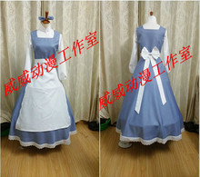 Beauty And the Beast Cosplay Belle Halloween Blue Girls Long Maid Dress Costume