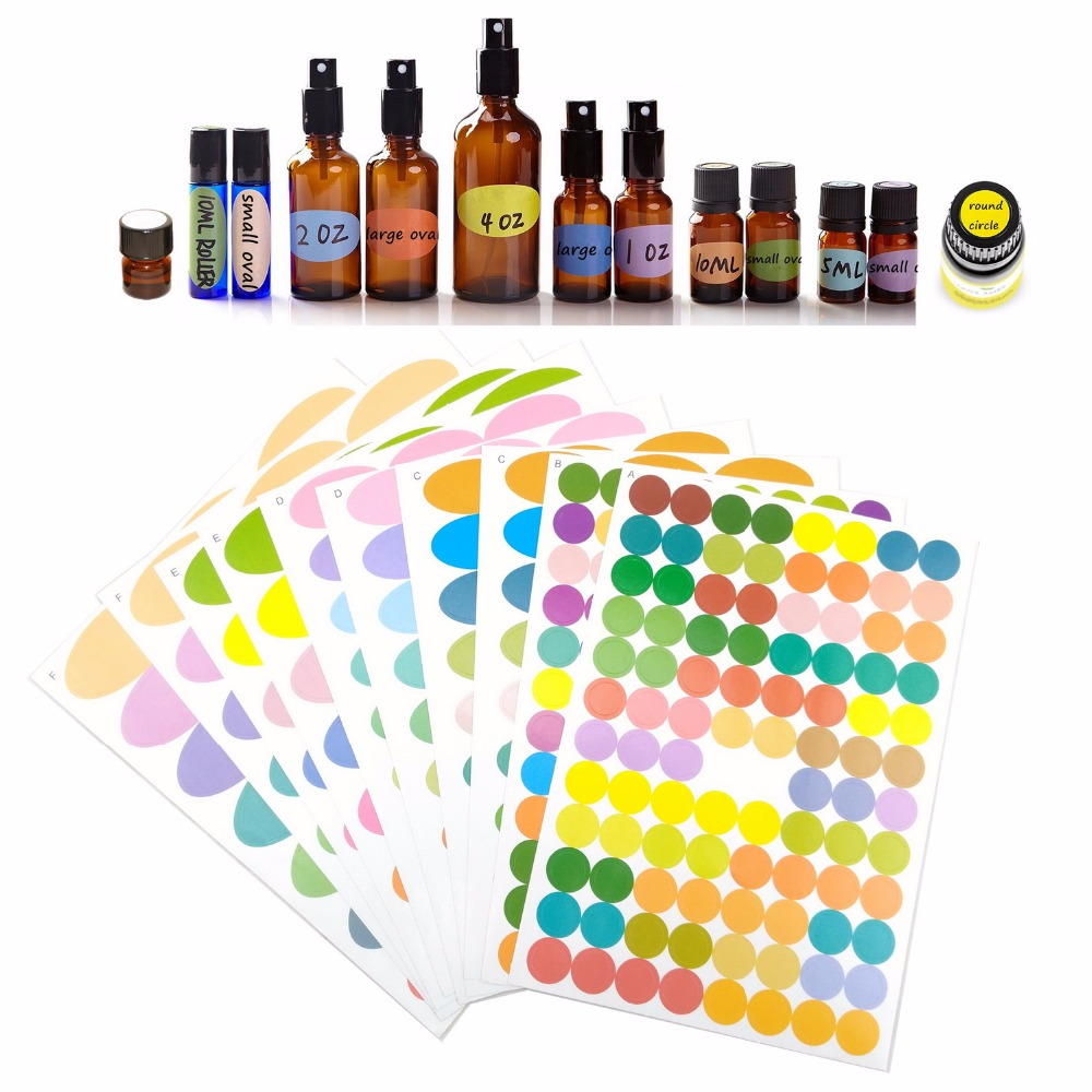 1 Set 10 Sheets Colorful Glass Essential Oil Bottle Cap Lid Labels Multiple Size Includes Blank Round Circles Ovals Stickers