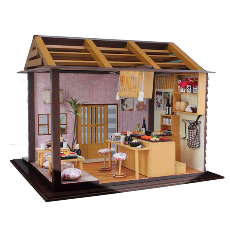 sakura sushi bar japanese zakka style diy doll house 3d miniature led light wood metal assembled. Black Bedroom Furniture Sets. Home Design Ideas