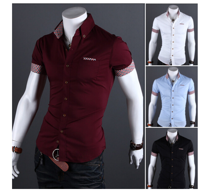 bfa01967 Mens Fashion Designer shirts New 2015 summer Men's Clothing male buckle  short sleeve casual shirt Slim Fit Dress man Shirts Tops