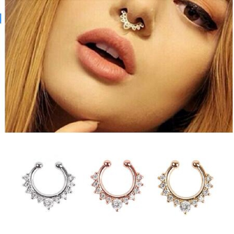 SHUANGR Crystal FashionClicker Fake Septum for Women Body Clip Hoop Vintage Fake Nose Ring Faux Piercing Body Jewelry Wholesale