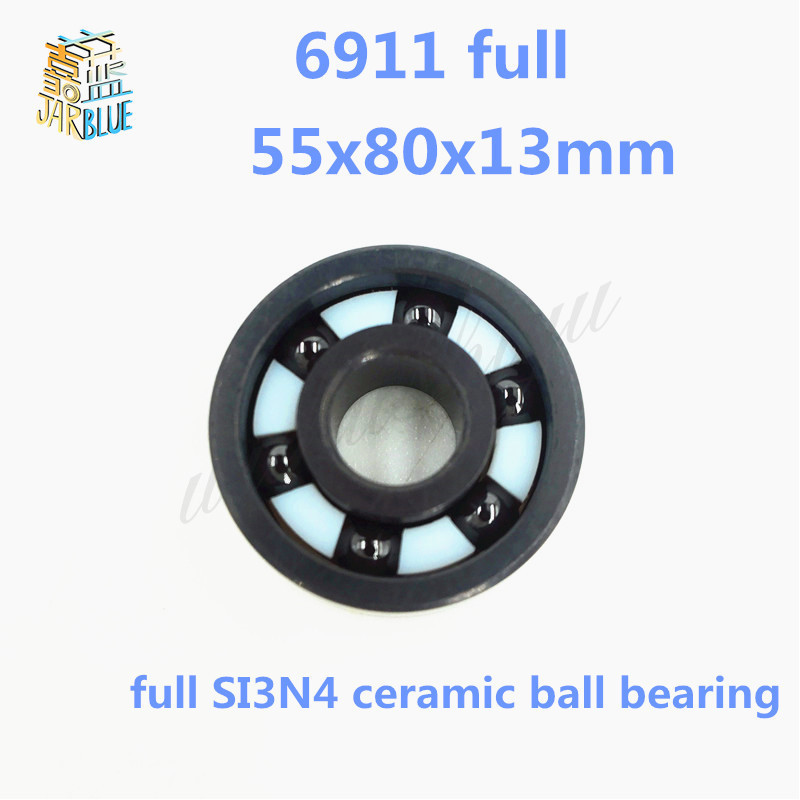 Free shipping high quality 6911 full SI3N4 ceramic deep groove ball bearing 55x80x13mm цена 2017