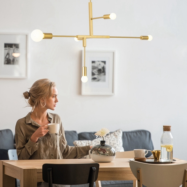 LuKLoy Modern Simple Branch Pendant Light Suspended Hanging Gold / Black Lamp for Living Dining Room Shop Decoration
