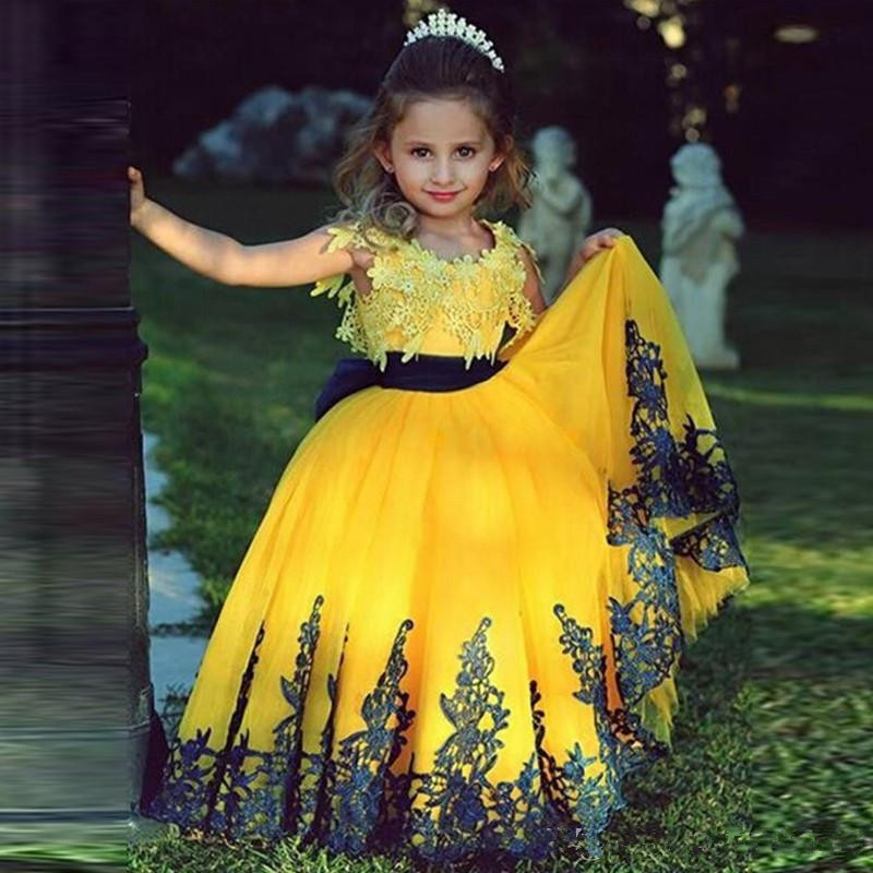 Yellow 2019   Flower     Girl     Dresses   For Weddings Ball Gown Cap Sleeves Tulle Appliques Long First Communion   Dresses   For Little   Girls