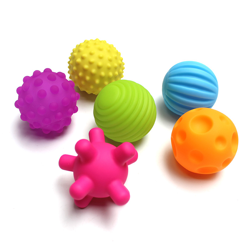 1/4/6pcs Children Soft Rubber Textured Sounding Balls Hand Massage Baby Toys Tactile Sensory Toys Baby Training Toys For Kids