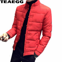 TEAEGG Chinese Style Ctton Men Jacket Winter Male Clothing Blouson Homme Hiver Red Mens Jackets And Coats Parka Masculina AL622