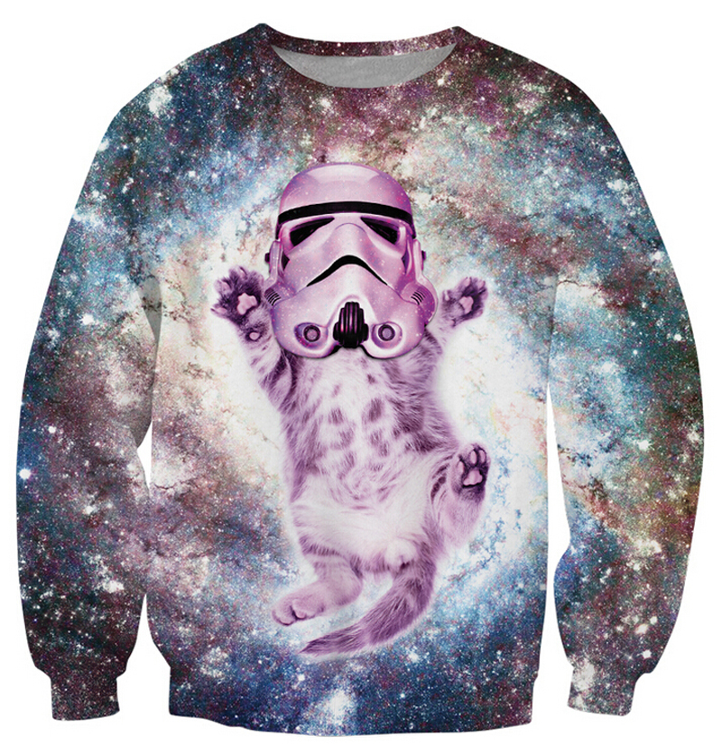 Women/Men Cat Trooper Crewneck Sweatshirt Galactic Empire funny Sweats sparkly stormtrooper helmet kitty Jumper plus size S-3XL