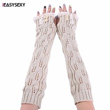 iEASYSEXY Fashion Winter New Style Women Lace Armstulpen Seven Colors Long Knit Fingerless Gloves Hot Sales Button Arm Warmers