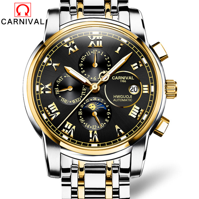 CARNIVAL 2019 Business Watch Men Automatic Luminous clock Men Waterproof Mechanical Watch Top Brand Moon phase relogio masculino
