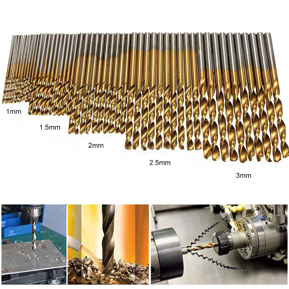 50pcs High Speed Steel Twist Drill 1.0/1.5/2.0/2.5/3.0mm Titanium Coated HSS Drill Woodworking Hand Tools Drill Bit Set tungsten alloy steel woodworking router bit buddha beads ball knife beads tools fresas para cnc freze ucu wooden beads drill