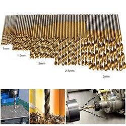Broca de aço de alta velocidade da torção de 50 pces 1.0/1.5/2.0/2.5/3.0mm titânio revestido hss broca carpintaria ferramentas manuais broca conjunto