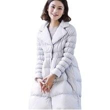 Fashion Warm Slim Waterproof White Duck Down Jacket 2017 Winter Women Casual Down Parkas Female Loose Plus Size Long Coat WFY159