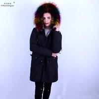 Linhaoshengyue Женская мода куртка пальто Радуга енота меховым воротником пальто