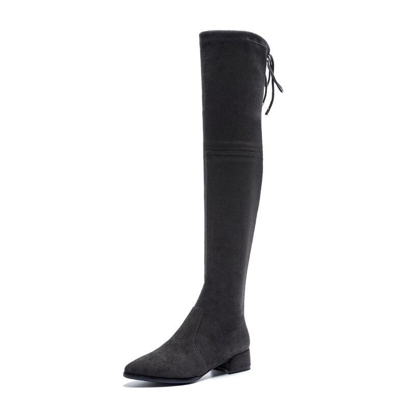 Ayakk.'ten Diz Üstü Çizmeler'de FEDONAS 2019 Yeni Diz Üzerinde Yüksek Çizmeler Kalın Topuklu Ince Uzun Sonbahar Kış Ayakkabı Kadın Sıkı Yüksek Balo dans ayakkabıları çizmeler'da  Grup 2