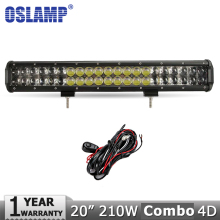 "Oslamp 20 ""210 W Virutas DEL CREE LED Light Bar Combo del Trabajo del Led Luz 12 v 24 v 4WD Led de Conducción de La Lámpara SUV ATV 4×4 Offroad Llevó La Luz Bar"