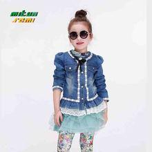 Children's wear cowboy coat girls denim with lace jacket 2016 new arrived