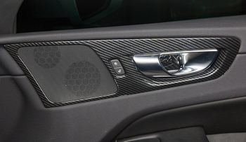 For Volvo XC60 2018 Only Fit For Left Hand Drive Carbon Fiber Style Door Inner Handle Bowls Cover Decoration Trim car styling