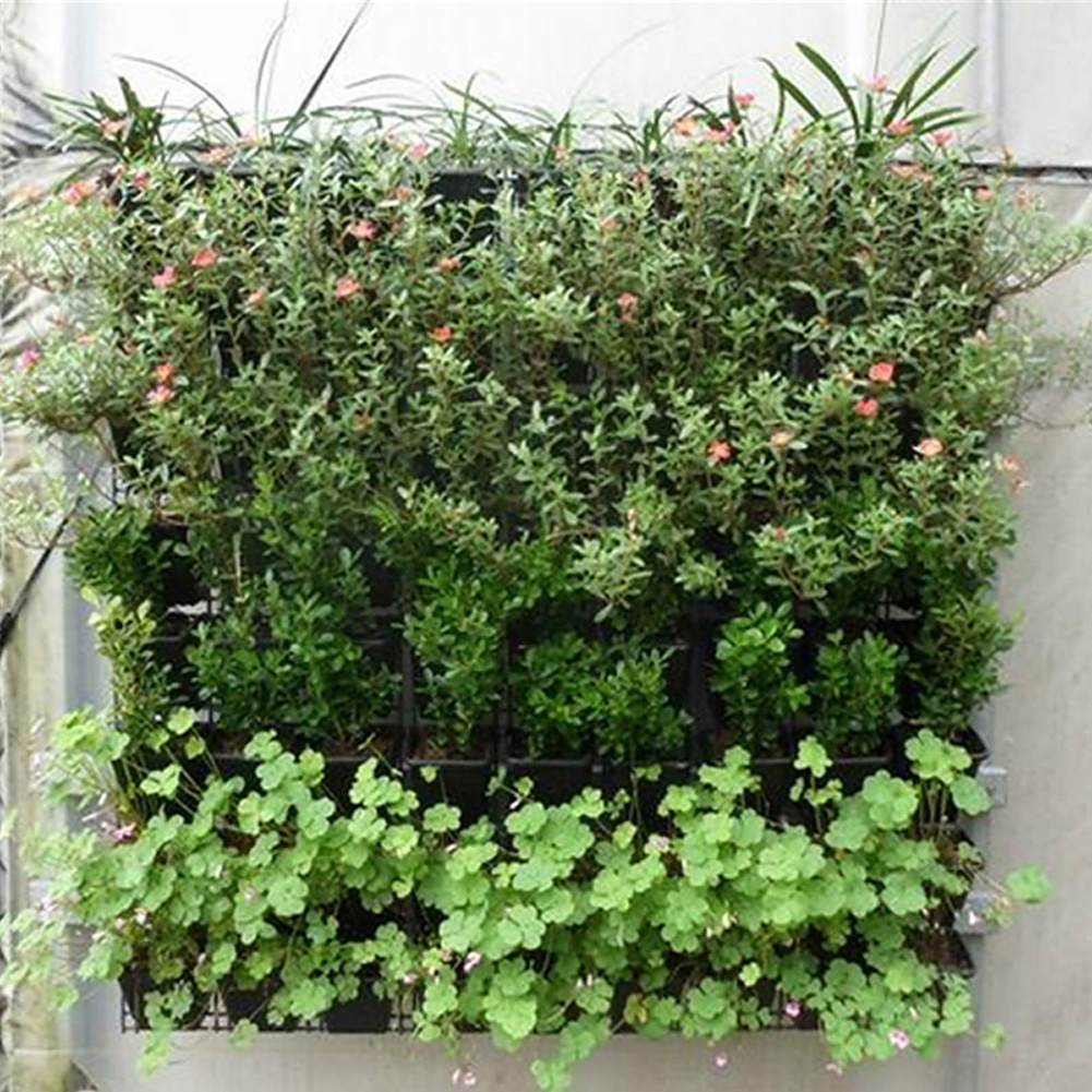 Large Garden Pots Us 15 86 15 Off 64 Grid Pocket Plant Pot Vertical Garden Hanging Green Wall Planters Large Garden Pots For Balconies In Grow Bags From Home Garden