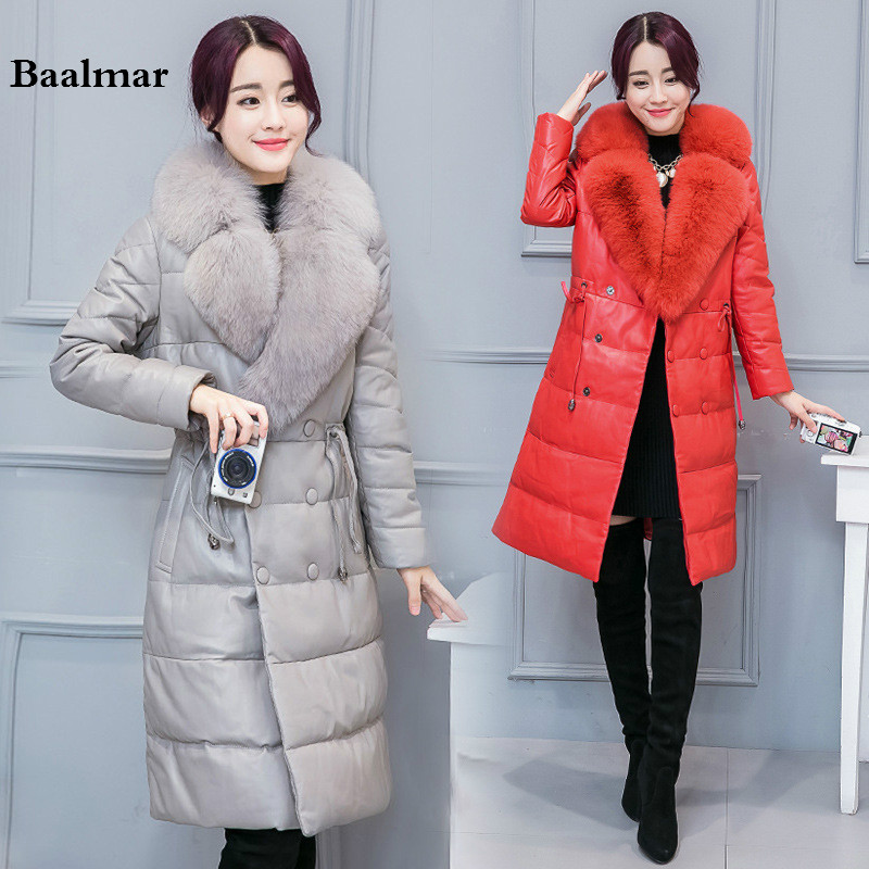 Baalmar 2017 New Winter Jacket Women Black Winter Coat Thick Down Jacket Parka Fox Fur Collar Outwear Leather Jacket Woman 4XL dreak the new outdoor men s thick down jacket collar mens winter parka jacket coat lightweight jacket outwear overcoat