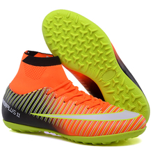 Men Soccer Shoes Indoor High Ankle Football Boots Cleats Boy