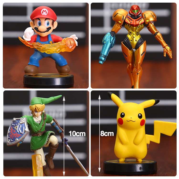 4pcs/set 10cm Japanese anime figure game Super Mario Pikachu The Legend of Zelda Link Samus Aran PVC Action Figures ems shipping 12 sets cute super mario game mario luigi brothers set pvc action figure collection model dolls toy 3pcs per set