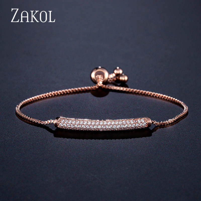 ZAKOL Brilliant Pave Zirconia CZ Rose Gold Color Chain Adjustable Bracelets For Women Fashion Jewelry FSBP2031