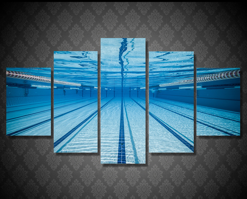 US $20.24 |5Piece Home Decor Wall Art Pictures Painting Print Poster  Swimming Pool Underwater Canvas Painting On The Wall Artwork Hanging-in  Painting ...