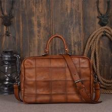 Soild Top Grade Handmade Mens Genuine Oil Wax Leather Briefcase Vintage Style Totes Messenger Shoulder 15 inch Laptop Bag Case