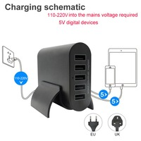 USB AC adapter 40W Smart Super charger 5 Ports USB charger for Iphone/ipad/Samsung US/EU/UK Plug 2 colors tablet charging