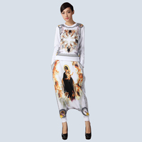 2015 Top Fashion Women S Spring Antumn Casual Loose 2 Piece Pants Sets Vintage Shirt Long