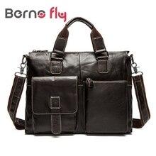 Vintage Genuine Leather Men bag Casual man briefcase shoulder Bags Laptop crossbody messenger bag for men leather  travel bags