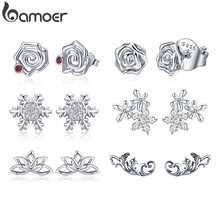 BAMOER Genuine 925 Sterling Silver Romantic Rose Flower Stud Earrings for Women Pink CZ Fine Sterling Silver Jewelry 2018 GAE006(China)