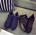 2016 Nuevos Hombres de Invierno Zapatos Botas de Nieve de Color Sólido Algodón Interior Inferior Antideslizante Mantener Caliente Impermeables Botas De Esquí